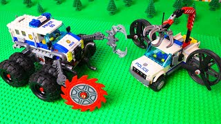 LEGO Cars experemental Police truck, bulldozer, train police and concrete mixer truck for kids
