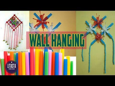 Ide Kreatif Membuat Hiasan Dinding Dari Sedotan Minuman | DIY Room Decor