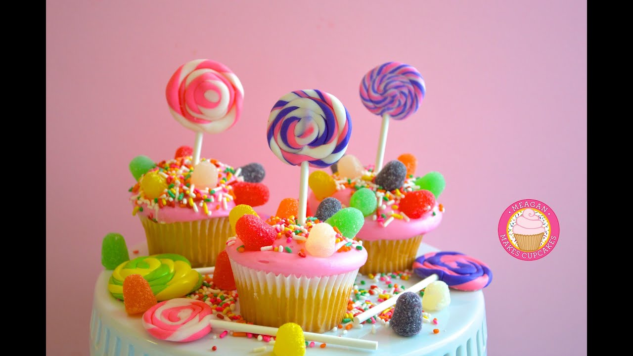 Cupcake Decorating Ideas With Candy : CANDYLAND CUPCAKES!!!How to Make Candyland Swirled ...