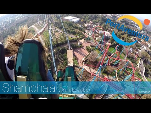 Port Aventura Spain - Shambhala (right side POV roller coaster on ride video)