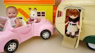 Camping car trailer and Baby doll toys picnic play