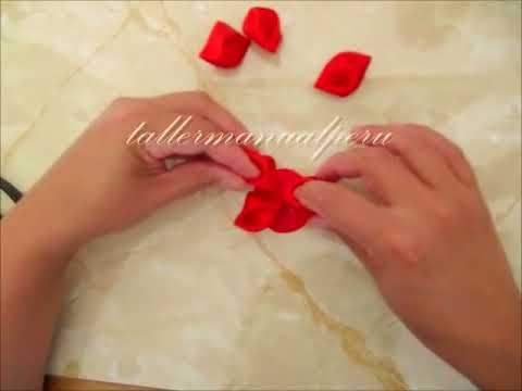 Flores pétalos diamantes en cintas para el cabello paso a paso