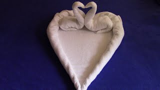 Towel Heart and Swans,  Love Sign,Valentine's Day