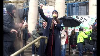 Singer Jarvis Cocker Addresses the Crowd at Sheffield City Hall Anti Tree Felling Protest
