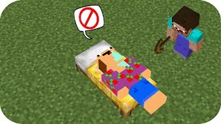 2 NOOB DEFIENDE LA CAMA LUCKY NOOB VS TROLL BED WARS MINECRAFT + TROLL