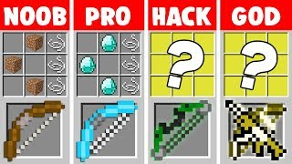 Minecraft Noob Vs Pro Vs Hacker Vs God Super Bow Crafting In Minecraft Animation