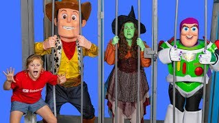 Toy Story Woody has a Hair Taken by the Witch with the Assistant and Buzz Lightyear