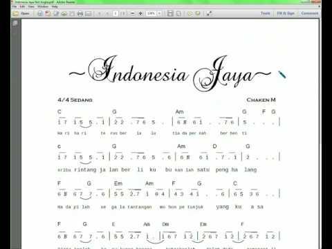 Download Notasi & lyric lagu Indonesia Jaya Partitur Not Angka & Chord
