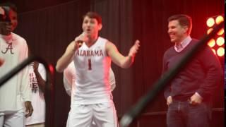 Alabama forward Riley Norris does his impersonation of Alabama basketball coach Avery Johnson