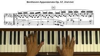 Beethoven Piano Sonata No 23 Op 57 Appassionata 2nd Mvt Tutorial With Score