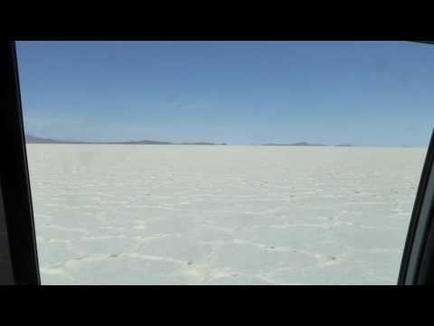 Driving on Uyuni Saltflat