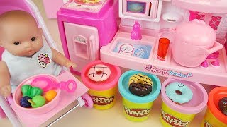 Baby doll play doh and kitchen toys baby Doli play