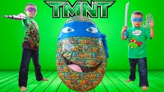 GIANT Teenage Mutant Ninja Turtle Egg Surprise Opening Video | Lucas & Ryan | LRH & Toyz