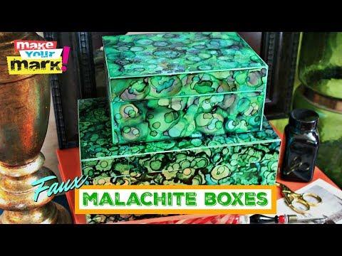 Faux Malachite with Alcohol Inks