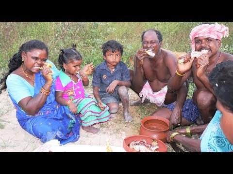 Primitive Technology - Whole Family Cooking Chicken And Eating | Telugu Adda