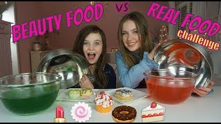 BEAUTY FOOD VS REAL FOOD CHALLENGE MET JOY VAN BEAUTYNEZZ - Bibi