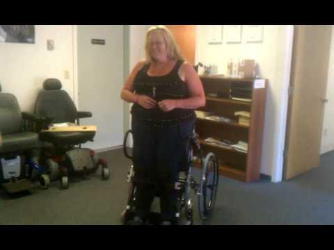 Paraplegic gets her first standing wheel chair!