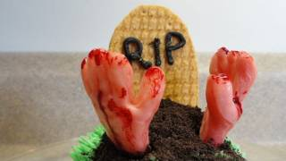Decorating Cupcakes #74: Zombie Hands And Tombstone (for Halloween)