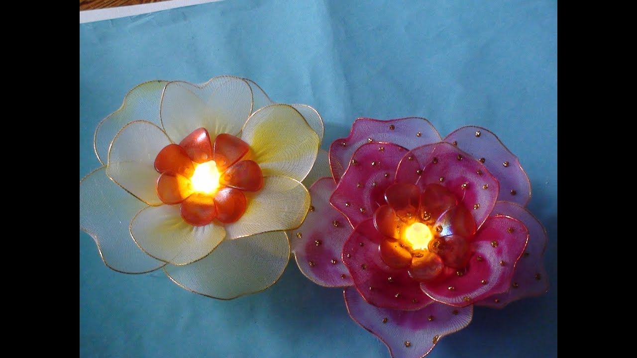 Stocking flower with light tutorial - YouTube