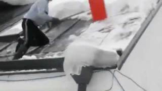 Cleaning Snow Off The Roof Fail - Funny Video