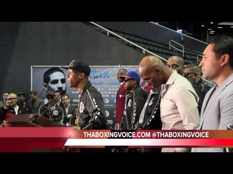 ZAB JUDAH CHECKS OSCAR DE LA HOYA AT PRESS CONFERENCE