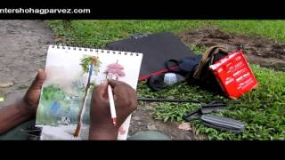watercolor landscape tutorial 3, by painter shohag parvez. 2015
