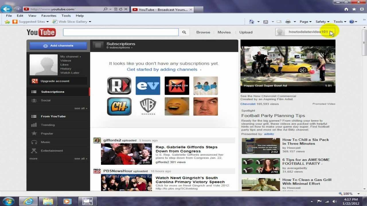 how to delete youtube ivdeos