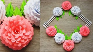 Wall Decoration Ideas | Beautiful Wall Hanging Making at Home | Paper Flower Wall Hanging р6