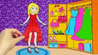 Paper Doll Wardrobe Collection of Shoes and Clothes and Accessories