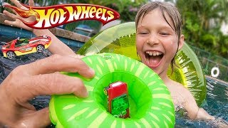 Hot Wheels Cars Pool Floaty Trick Shots!