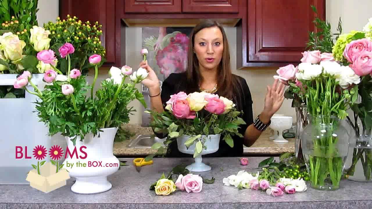 Make a romantic ranunculus centerpiece youtube