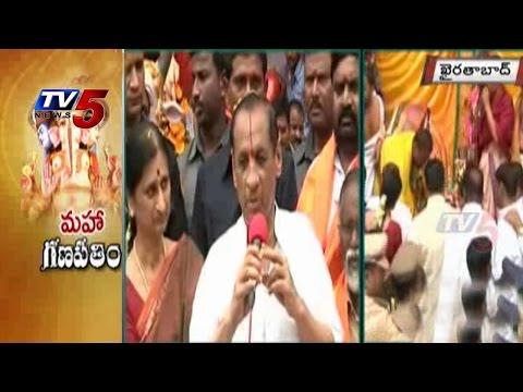 Governor Narasimhan Couple Offers First Puja to 'Khairatabad Ganesh' : TV5 News : TV5 News