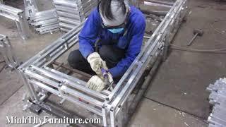 Sản xuất khung nhôm ghế hồ bơi giả mây ngoài trời mã MT4A18
