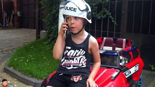 Funny Tema ride on Police Cars Pretend Play with toys and Power Wheels cars Video for kids