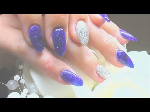 DEEP BLUE SILVER PARADISE ~ ACRYLIC NAILS   ABSOLUTE NAILS