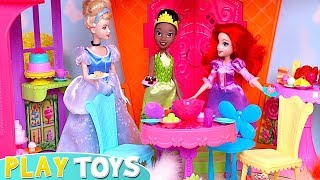 Princess Rapunzel, Ariel and Barbie Doll Dinner Party in Glam Castle Toys!