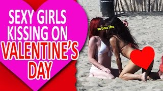 Girl Kissing Random Girls at the Beach Valentine Day SPECIAL!