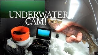 ICE FISHING Local Pond for TROUT - w/ UNDERWATER CAMERA!