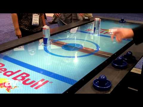 InfoComm 2014: MultiTaction Demos Its Enriched Reality Table as an Air Hockey Table