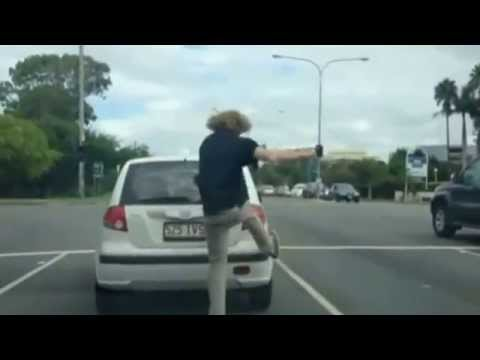 Road rage footage: Two men caught in brawl in Australia