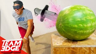 Blind Knife Throwing Challenge!!