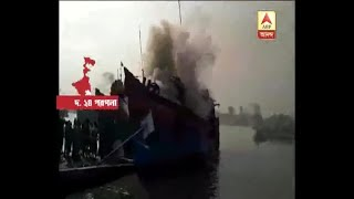 Fire in a trawler at Namkhana Ghat