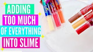 ADDING TOO MUCH INGREDIENTS INTO SLIME! Adding Too Much Of Everything Into SLIME!