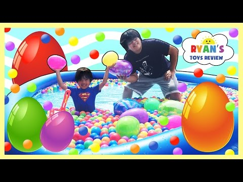 HUGE EGGS HUNT SURPRISE TOYS CHALLENGE in Giant Ball Pit