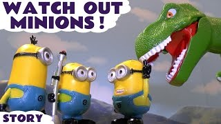Funny Minions with GIANT Dinosaur and BIG Thomas The Tank Engine toy story for kids ToyTrains4u