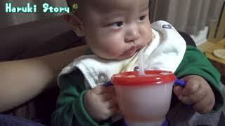 赤ちゃんストローで飲む練習