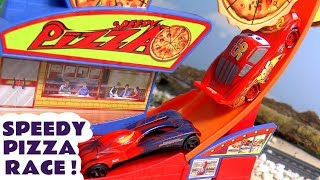 Cars Lightning McQueen races Hot Wheels Superhero Cars on the Speedy Pizza Farthest Wins Track TT4U