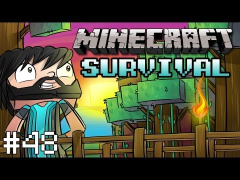 Minecraft: Survival Let's Play w/ Thinknoodles - Part 48 - Iron Farm Fully Automated!