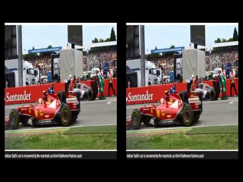 F1 Race 2014  : German Grand Prix   Sutil's Car Recovered By Marshals as Raikkonen Flashes past