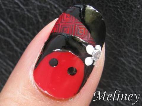 Konad Nail Art stamping Tutorial - Cone Head Dolly Design manicura francesa French Tips